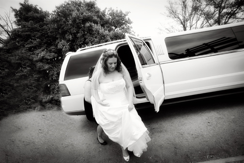 Coleen getting out of the amazing limo from Ritz Limos