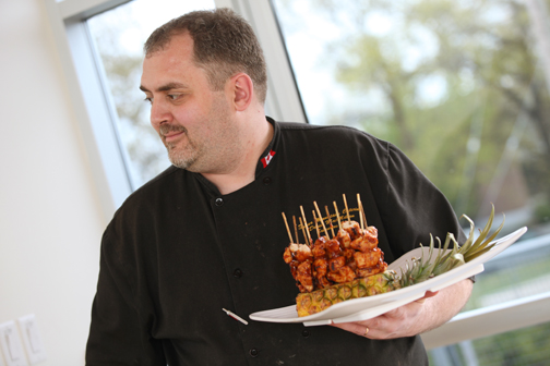 Dave of Sugar Mountain Catering with the amazing food